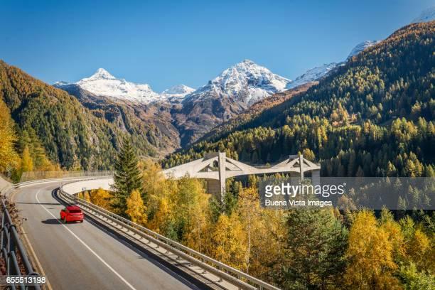 Futuristic bridge in the Swiss Alps