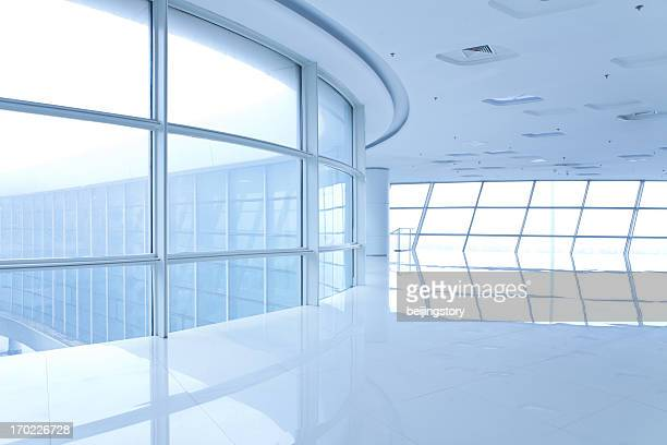 Futuristic, bright, empty white hallway