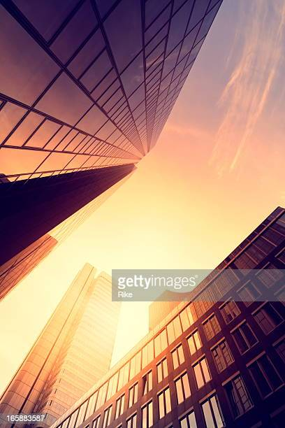 Futuristic building in the sunset