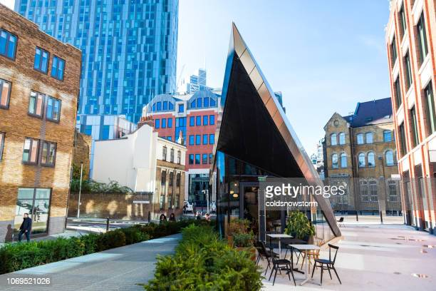 futuristic cafe architecture in london, uk - shoreditch stock photos and pictures