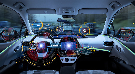 Futuristic car cockpit. Autonomous car. Driverless vehicle. HUD(Head up display). GUI(Graphical User Interface). IoT(Internet of Things). 913581100