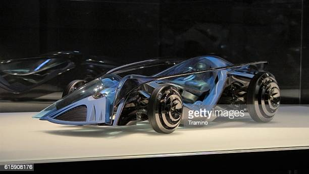 Futuristic car model on the exposition