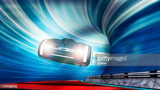 futuristic car speeding in the urban tunnel - futuristic car stock pictures, royalty-free photos & images
