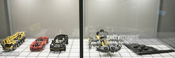 Futuristic cars and space ships made of Lego bricks are displayed during the World's biggest LEGO brick show at Galeria Kazimierz Krakow Poland on...