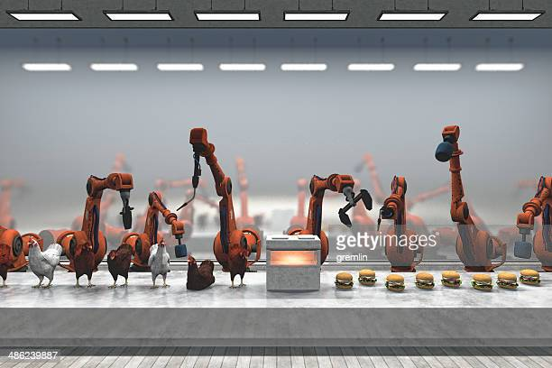 futuristic chicken burger food processing plant with robots - meat processing plant stock pictures, royalty-free photos & images