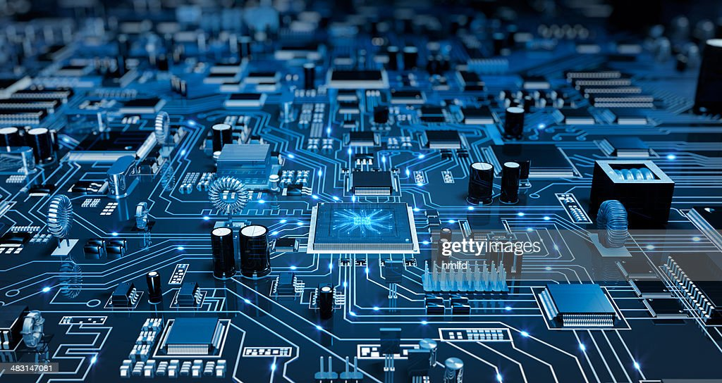Futuristic Circuit Board. Blue with electrons. : Stock Photo