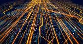 Futuristic Circuit Board Render With Bokeh Effects