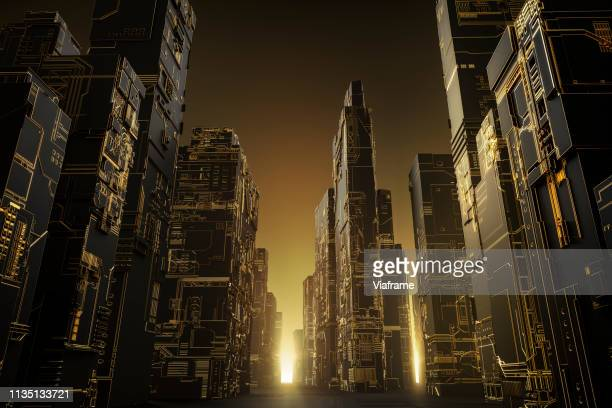 futuristic city - landscape - europe stock pictures, royalty-free photos & images