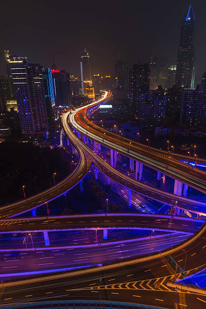 Futuristic City Lights Neon Night Highway Skyscrapers Shanghai China Wall Art