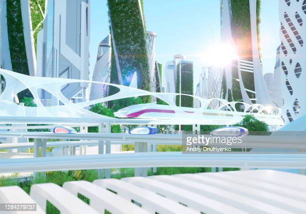 futuristic city - train vehicle stock pictures, royalty-free photos & images