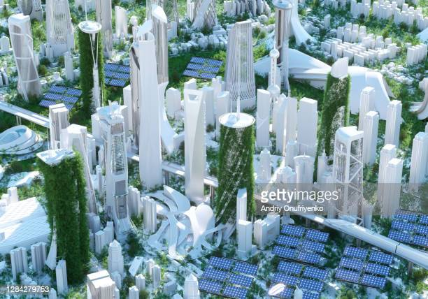futuristic city - sustainability stock pictures, royalty-free photos & images