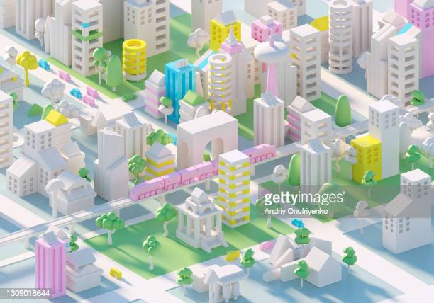 futuristic city - high street stock pictures, royalty-free photos & images