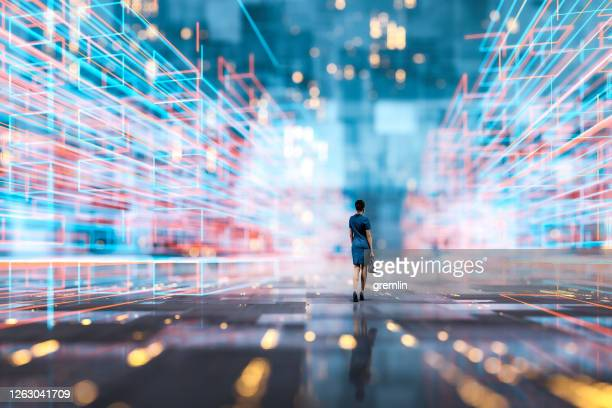 futuristic city vr wire frame with businesswoman walking - change stock pictures, royalty-free photos & images