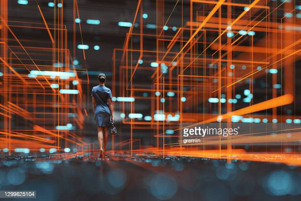 futuristic city vr wire frame with businesswoman walking - connection stock pictures, royalty-free photos & images
