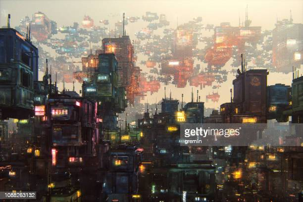 futuristic city with large amount of buildings - ugly wallpaper stock photos and pictures