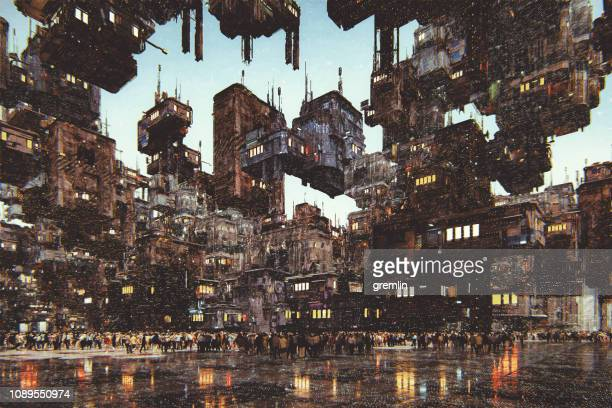 Futuristic city with large amount of buildings
