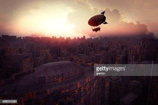 Futuristic cityscape at sunset with steampunk airship