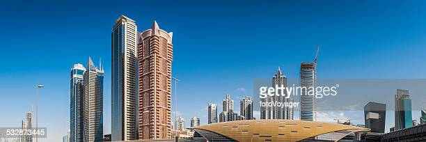 Futuristic cityscape skyscrapers and highrise towers panorama Dubai UAE