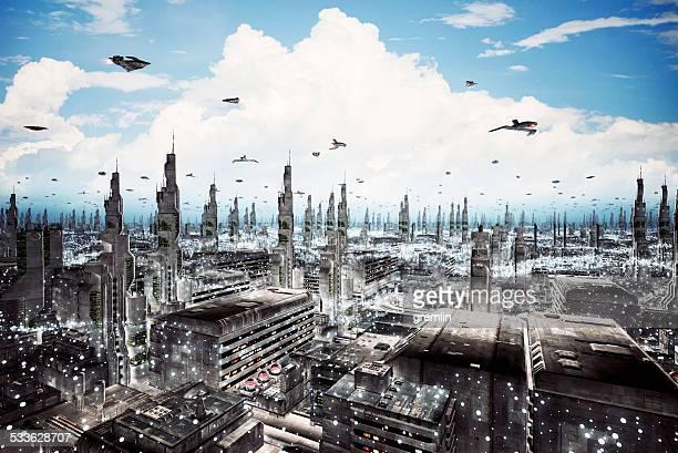Futurista cityscape con densa arquitectura y volando aircrafts