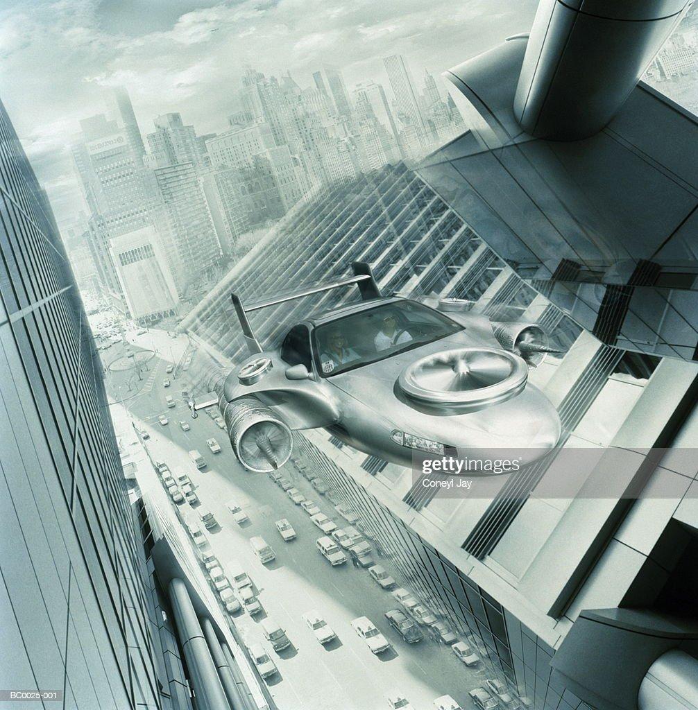 Futuristic cityscape with flying 'car' (Digital Composite) : Foto de stock