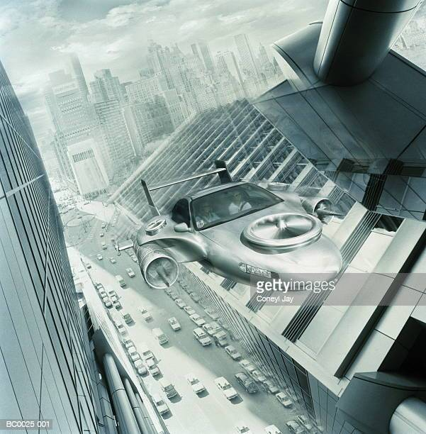 Futuristic cityscape with flying 'car' (Digital Composite)