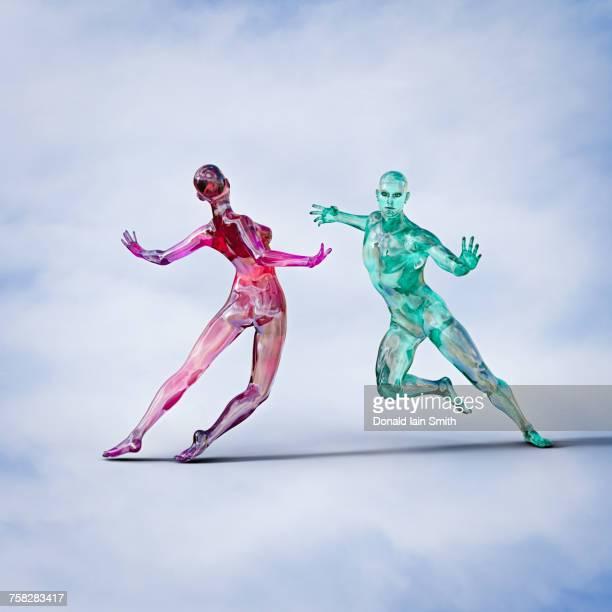 Futuristic couple dancing