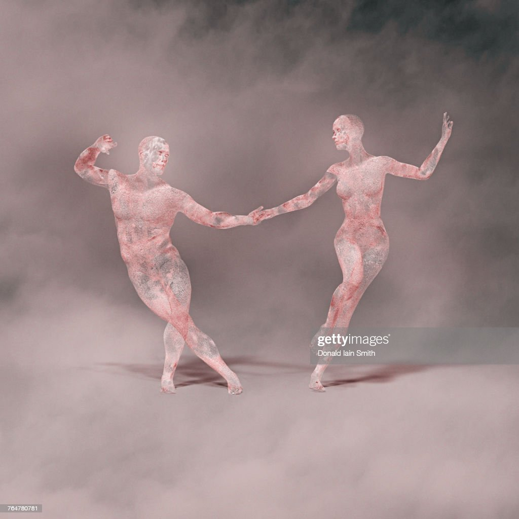 Futuristic couple dancing : Stock Photo
