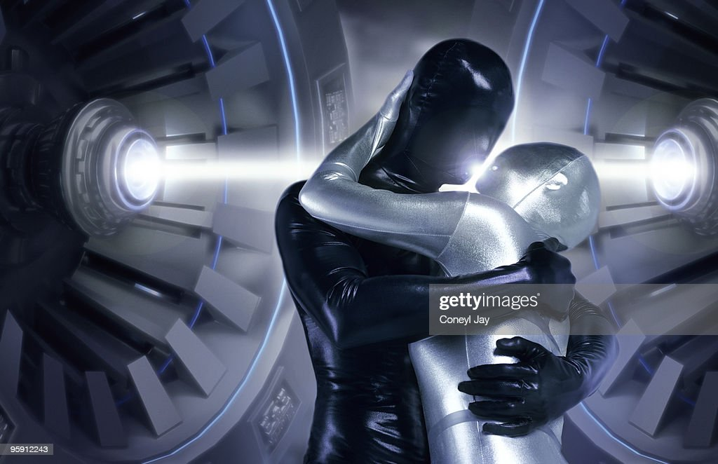 Futuristic couple kissing with energy beam : Stock-Foto
