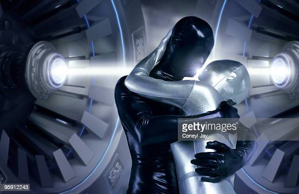 Futuristic couple kissing with energy beam