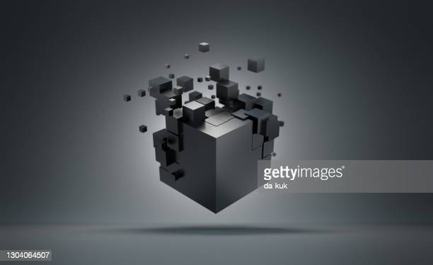 futuristic cube formation. abstract 3d render - breaking stock pictures, royalty-free photos & images