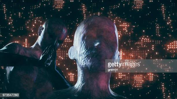 futuristic cyborg couple - god stock pictures, royalty-free photos & images
