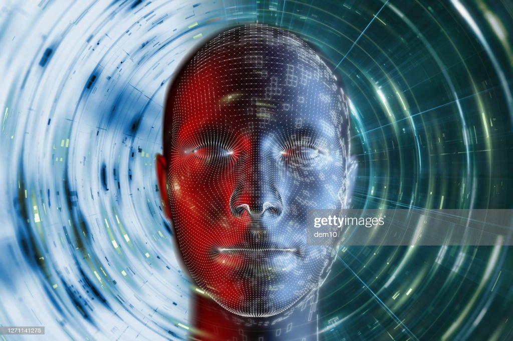 futuristic Cyborg Head artificial intelligence concept : Stock Photo