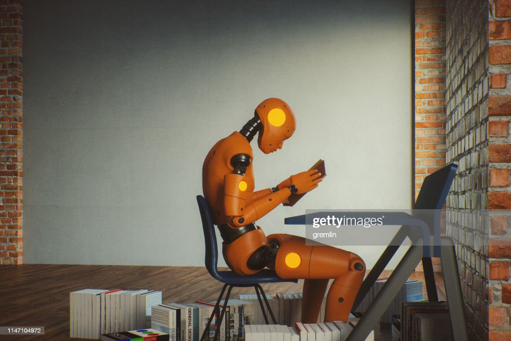 Futuristic cyborg learning about humans : Stock Photo