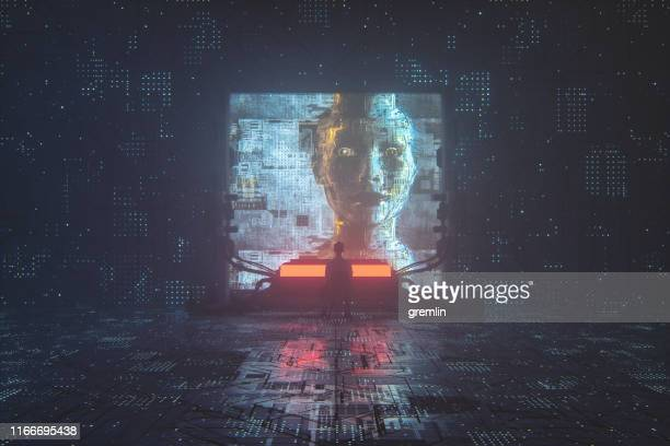 futuristic cyborg religion and control - holy city stock pictures, royalty-free photos & images