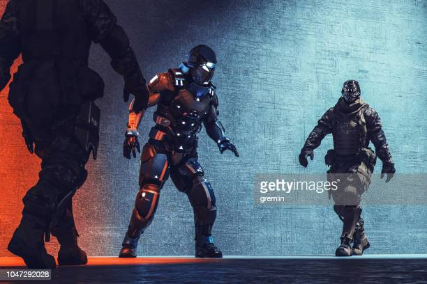 futuristic cyborg soldiers arresting cyborg mercenary - video game stock pictures, royalty-free photos & images