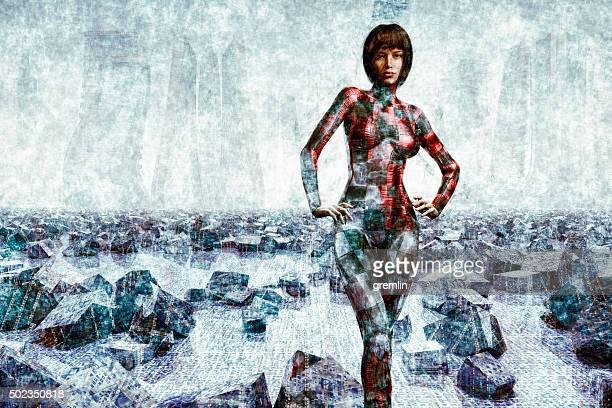 cyborg futuriste debout en face de la ville dans le lointain,