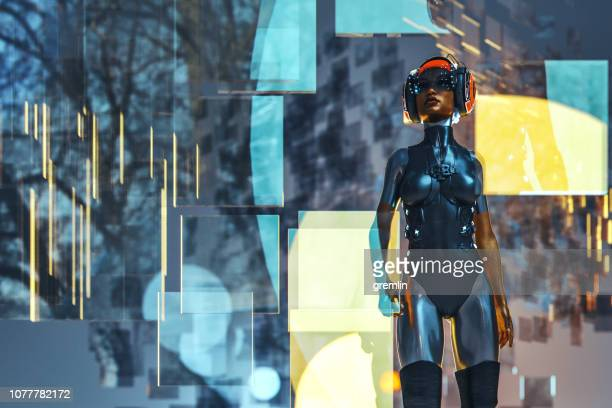 Futuristic cyborg walking in VR environment