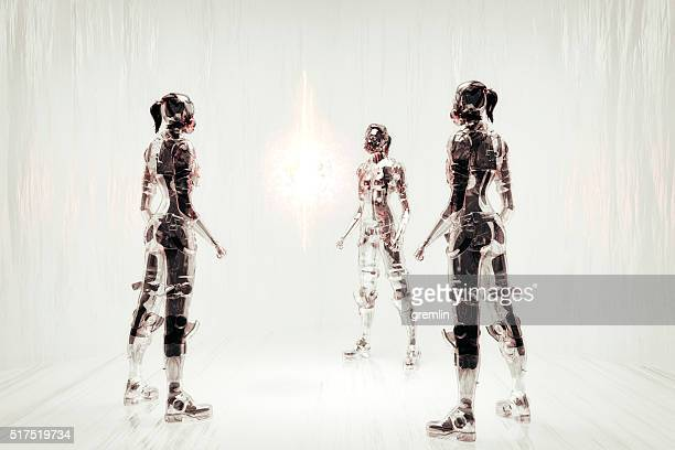 futuristic cyborg warriors communicating - warrior person stock photos and pictures