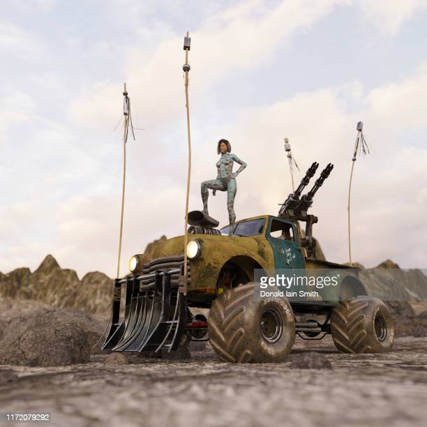 futuristic cyborg woman standing on custom car in desert - monster truck stock pictures, royalty-free photos & images