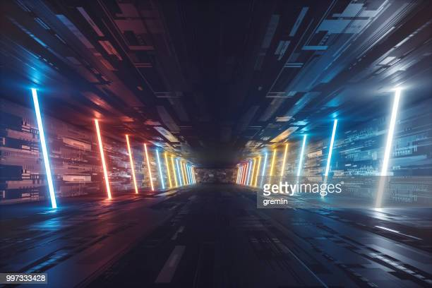 futuristic dark glowing corridor - futuristic stock pictures, royalty-free photos & images