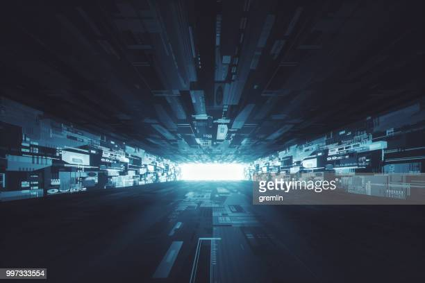 futuristic dark glowing corridor - spaceship stock photos and pictures