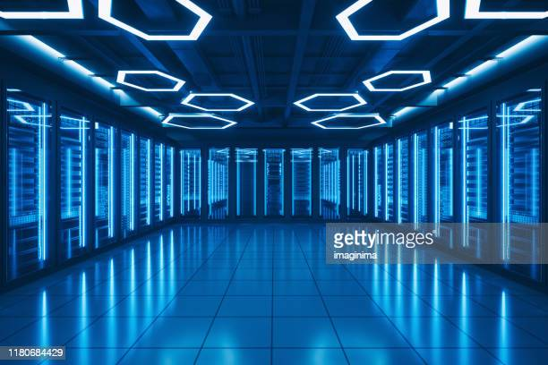 futuristic data center server room - data center stock pictures, royalty-free photos & images