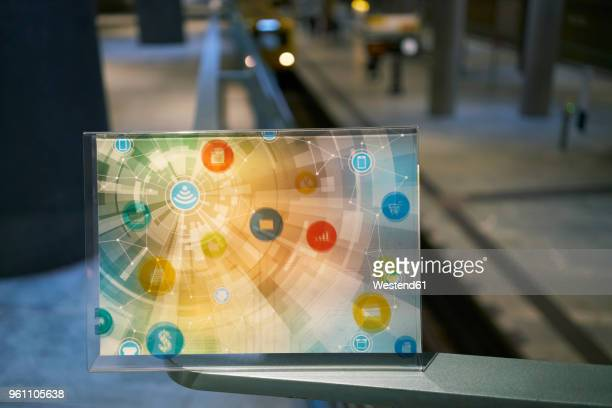 futuristic device with digital icons at underground station in the city - subway platform stock pictures, royalty-free photos & images
