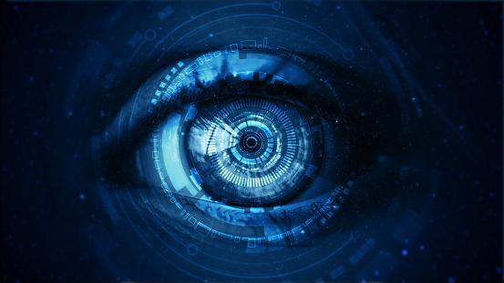 Futuristic digital technology screen on the eye 1166272744