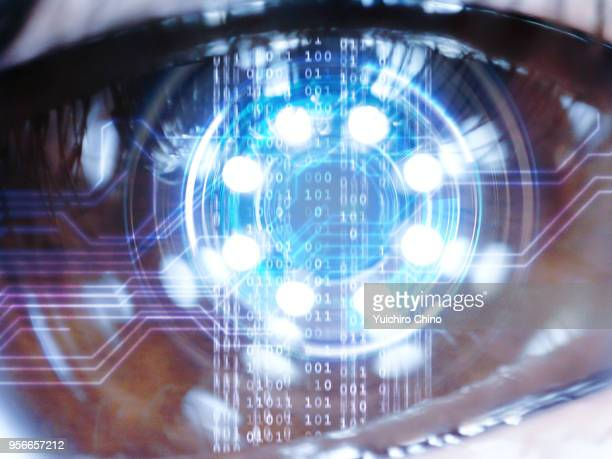 futuristic digital technology screen on the eye - hud graphical user interface stock photos and pictures