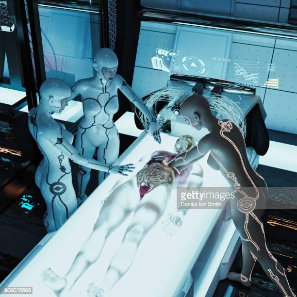 Futuristic doctor reaching into cyborg organs