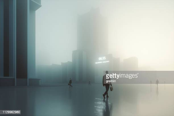 futuristic dystopian city with walking businessmen - doom patrol stock photos and pictures