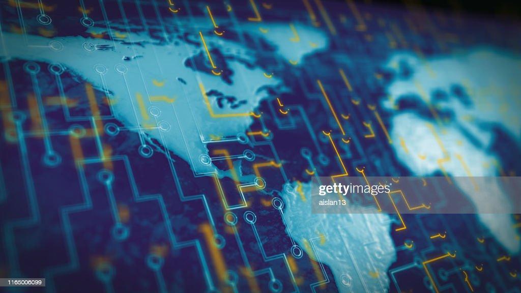 Futuristic earth map technology : Stock Photo