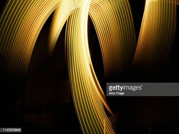futuristic elegant and harmonic golden curved lines. virtual environment. 3d. - gold rush stock-fotos und bilder