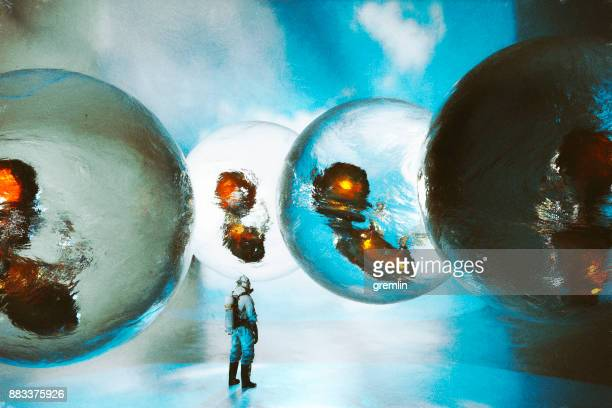 futuristic embryo nursery - man with big balls stock photos and pictures